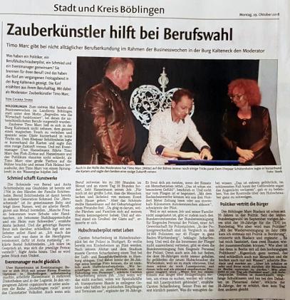 """Zeitungsartikel über Timo Marcs Veranstaltung """"Berufswelten"""""""