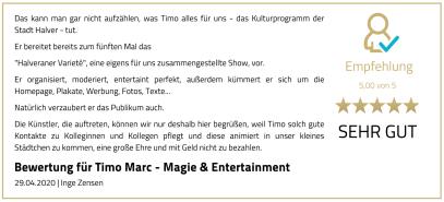 Empfehlung Timo Marc Events - Halveraner Variete