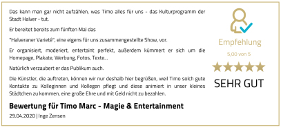 Bewertung Timo Marc Events