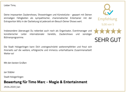 Timo Marc Events Bewertung